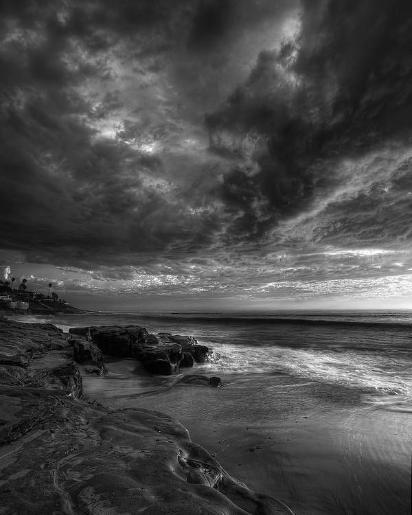 Clouds Poster featuring the photograph Windnsea Stormy Sky Bw by Peter Tellone