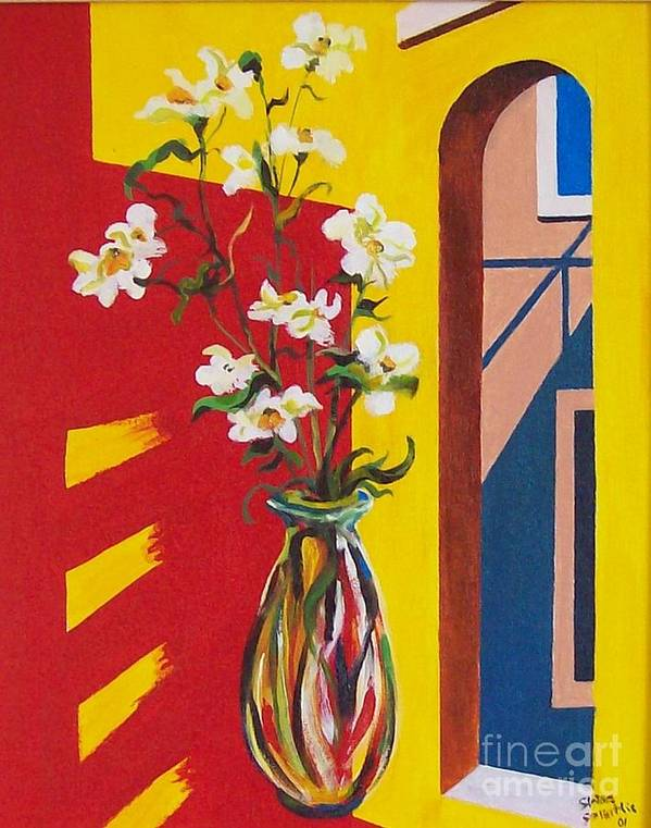 Still Life Poster featuring the painting Window by Sinisa Saratlic