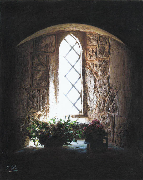 Interior Poster featuring the drawing Window Solitude by Darren Baker