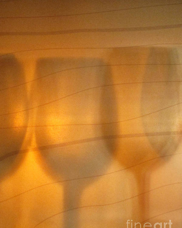 Alcohol; Liquid; Liquor; Wine; Glass; Gold; Golden; Drink; Elegant; Crystal; Libation; Pattern; Many; Design; Silhouette; Back Lit; Shadows; Stemware; Bar; Restaurant Poster featuring the photograph Wine Abstract by Margie Hurwich