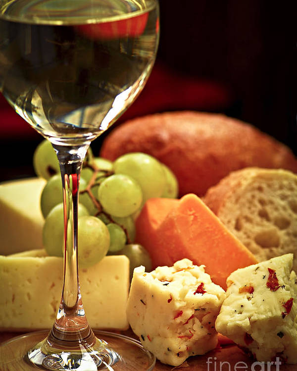 Cheese Poster featuring the photograph Wine And Cheese by Elena Elisseeva