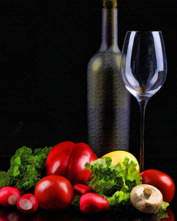 Wine Poster featuring the painting Wine For A Salad by Elaine Plesser