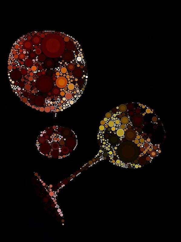Wine Poster featuring the digital art Wine Glasses by Cindy Edwards