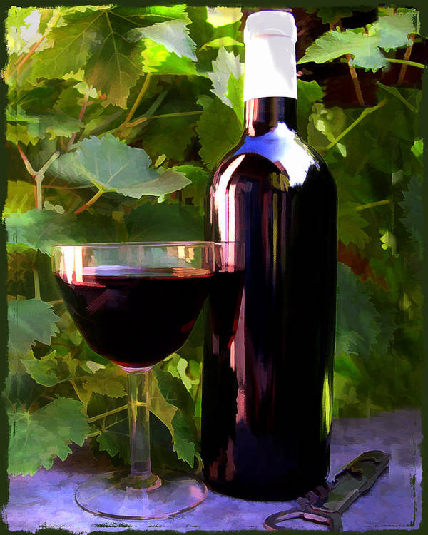 Wine Poster featuring the painting Wine In The Sunset by Elaine Plesser