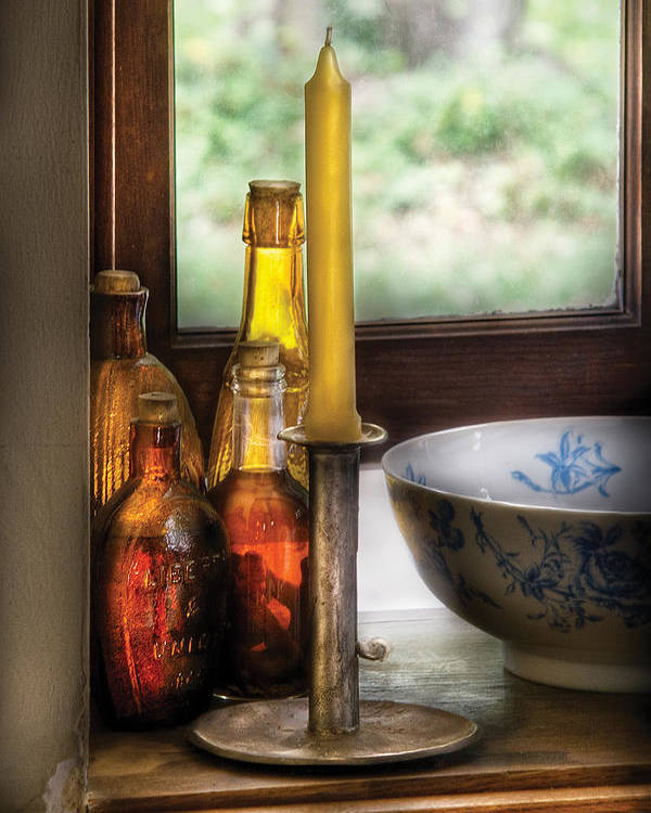 Savad Poster featuring the photograph Wine - Nestled In A Corner Of A Window Sill by Mike Savad
