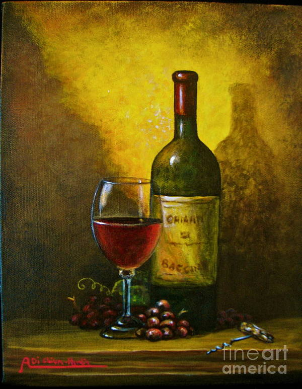 Angelica Dichiara Poster featuring the painting Wine Shadow Ombra Di Vino by Italian Art