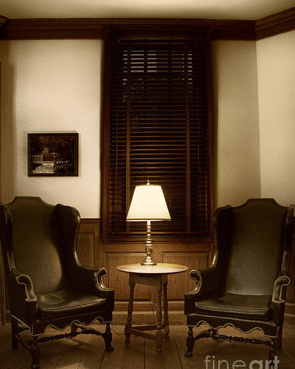 Chair; Inside; Seat; Indoors; Empty; Wing Back; Leather; Black; Brown; Two; Soft; Interior; Still Life; House; Home; Wood; Wooden; Lamp; Table; Window; Blinds; Shutters; No One; Picture; Frame; Hanging; Floor Poster featuring the photograph Wingbacks by Margie Hurwich