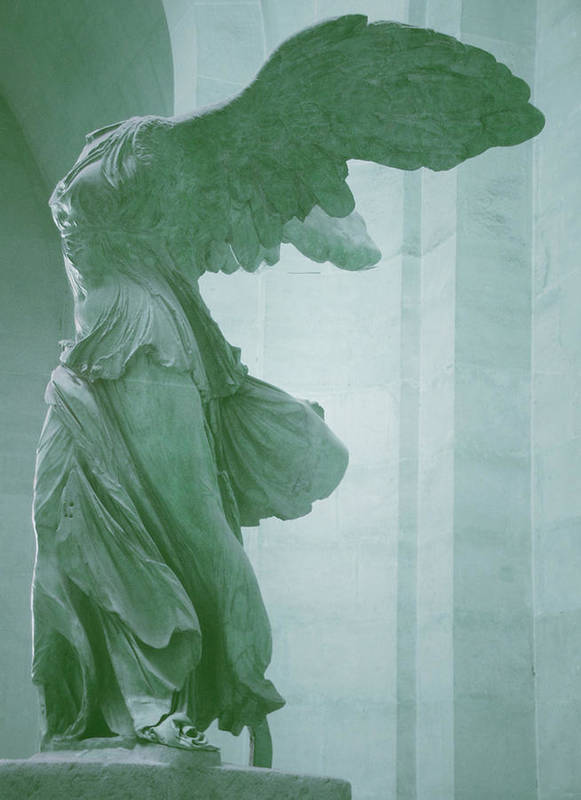 Winged Victory Poster featuring the photograph Winged Victory Of Samothrace Statue At The Louvre Museum    by The Art With A Heart By Charlotte Phillips
