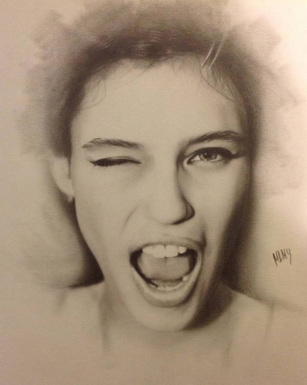 Portrait Poster featuring the drawing Wink by Matthew McCosco