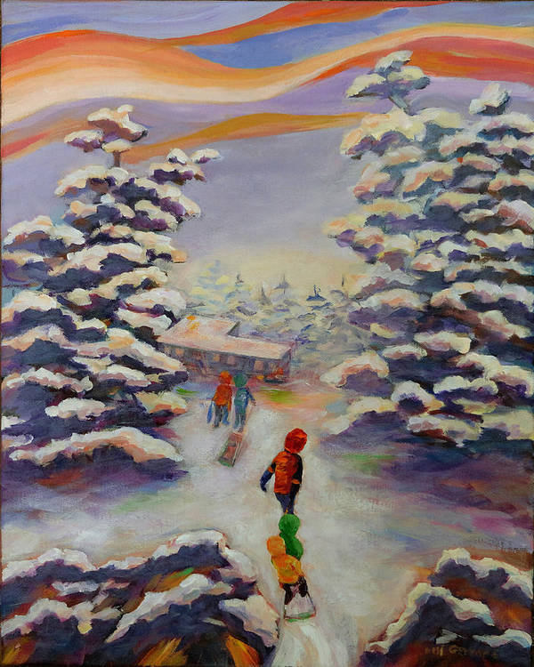 Winter In The Woods Poster featuring the painting Winter Comfort by Naomi Gerrard