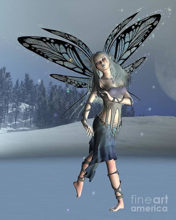 Fairy Poster featuring the digital art Winter Frost Fairy by Fairy Fantasies
