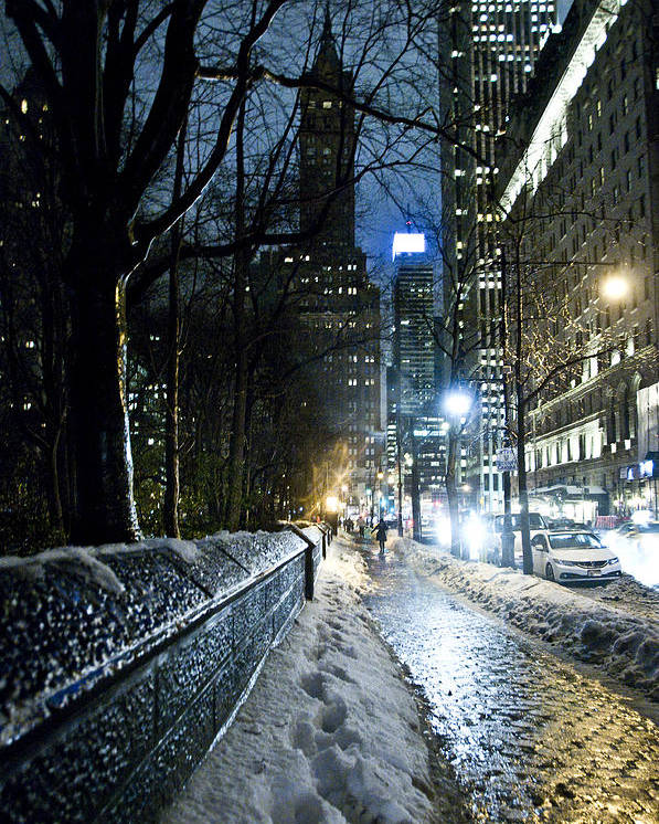 New York Poster featuring the photograph Winter In New York City by Olga Ska