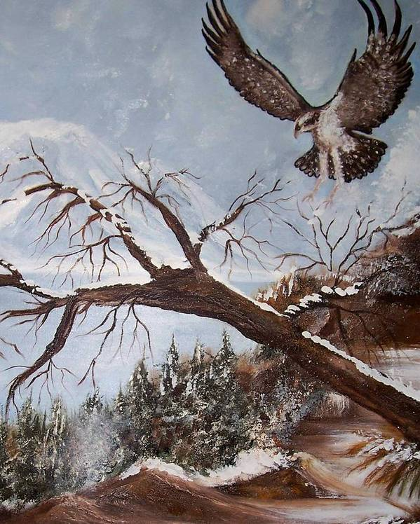 Eagle Poster featuring the painting Winter Nesting by Martha Mullins