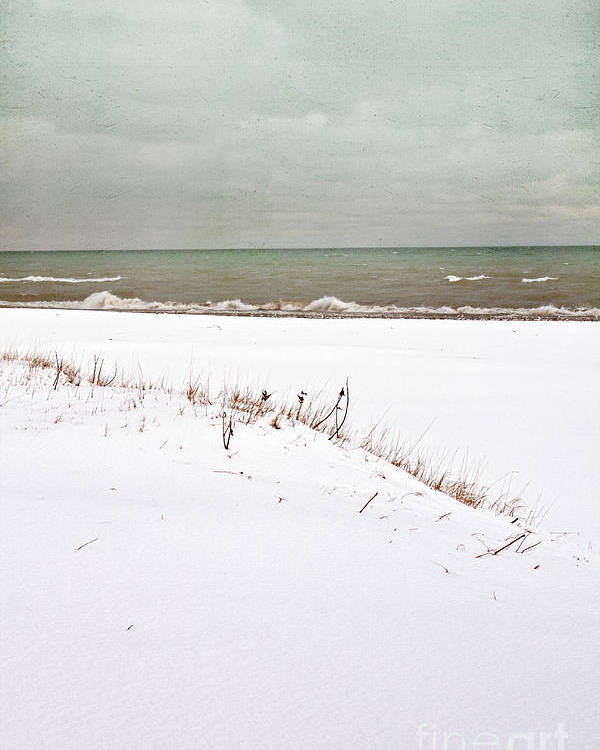 Winter; Season; Cold; Wintery; Blustery; Snow; Ground; White; Grasses; Dead; Brown; Water; Lake; Pond; Horizon; Sea; Ocean; Blue; Sky; Clouds; Cloudy; Waves; Seascape; Foam; Minimal; Beautiful; Lovely; Serene; Alone; Bay Poster featuring the photograph Winter Scene by Margie Hurwich