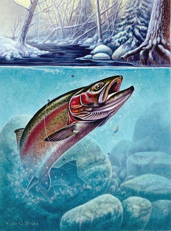 Jon Q Wright Poster featuring the painting Winter Steelhead by Jon Q Wright