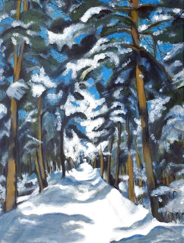 Winter Poster featuring the painting Winter Way by Vera Lysenko