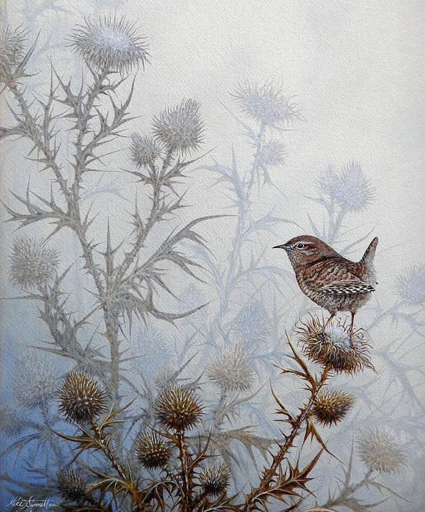 Wren Poster featuring the painting Winter Wren by Mike Stinnett