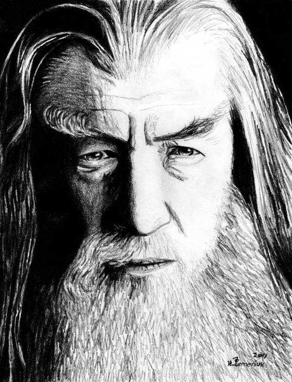 Gandalf Poster featuring the drawing Wise Wizard by Kayleigh Semeniuk