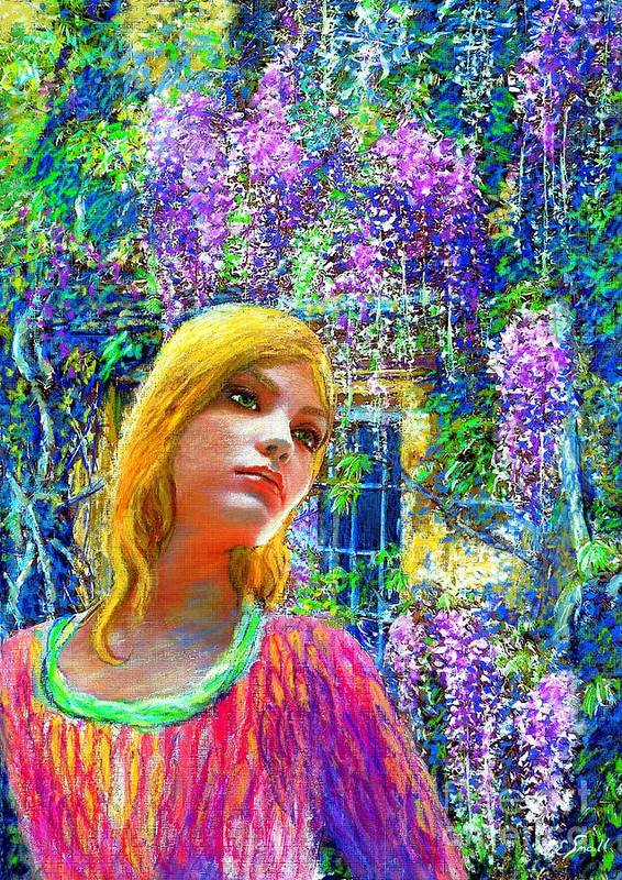 Wisteria Poster featuring the painting Wisteria by Jane Small