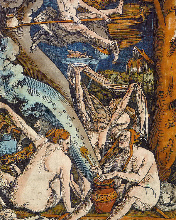 Pagan Poster featuring the painting Witches by Hans Baldung Grien