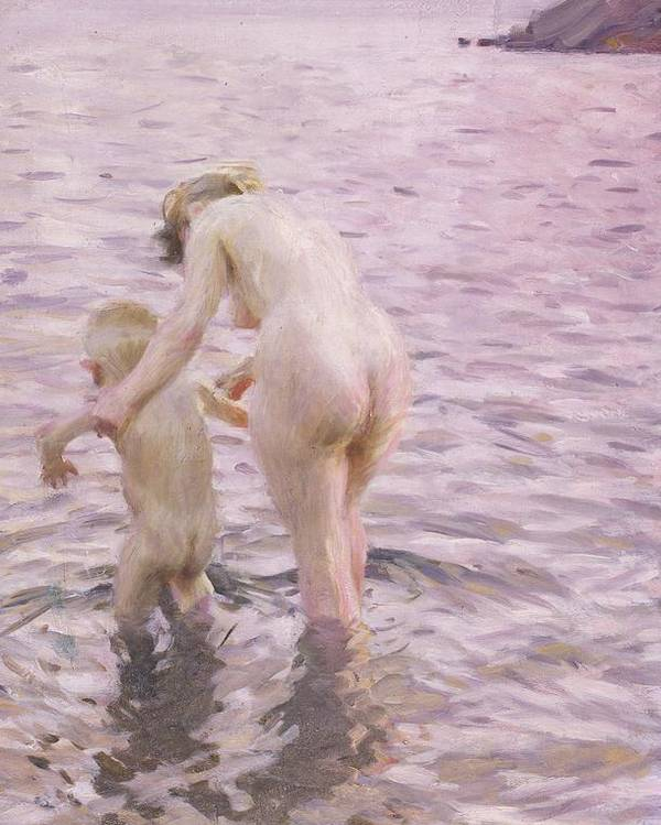 Mother; Child; Baby; Toddler; Female; Woman; Maternity; Maternal; Guiding; Leading; Nude; Naked; Seascape; Sea; Paddling Poster featuring the painting With Mother by Anders Leonard Zorn