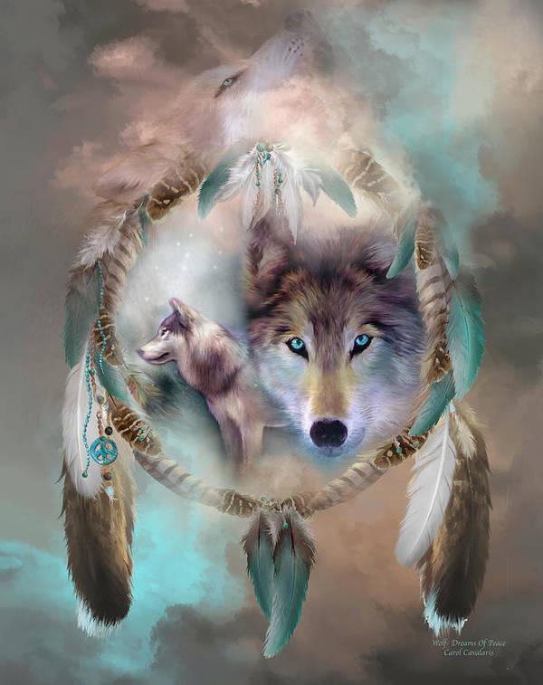 Carol Cavalaris Poster featuring the mixed media Wolf - Dreams Of Peace by Carol Cavalaris