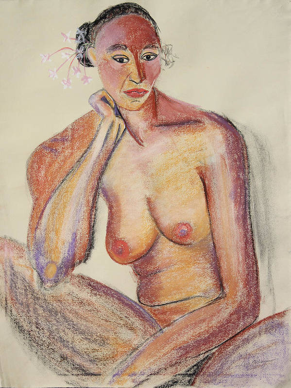 Nude On Paper Poster featuring the painting Woman Contemplating With Flowers In Her Hair by Asha Carolyn Young
