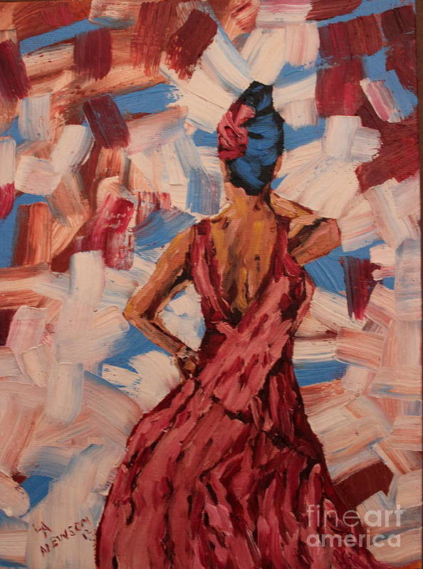 Red Poster featuring the painting Woman In The Red Gown by Lee Ann Newsom