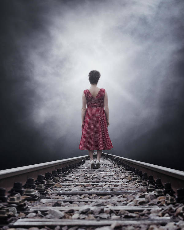 Woman Poster featuring the photograph Woman On Tracks by Joana Kruse
