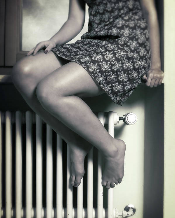 Girl Poster featuring the photograph Woman On Window Sill by Joana Kruse