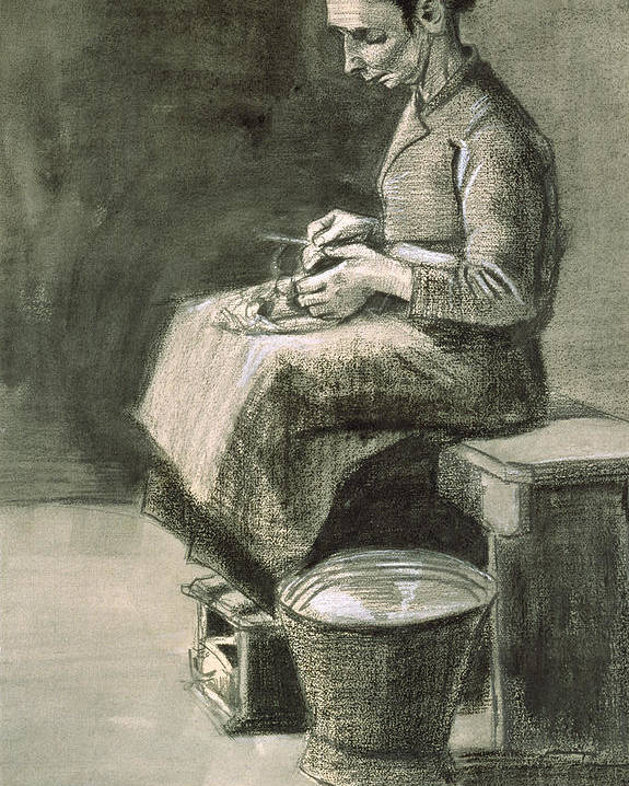 Van Gogh Poster featuring the drawing Woman Peeling Potatoes, 1882 by Vincent van Gogh