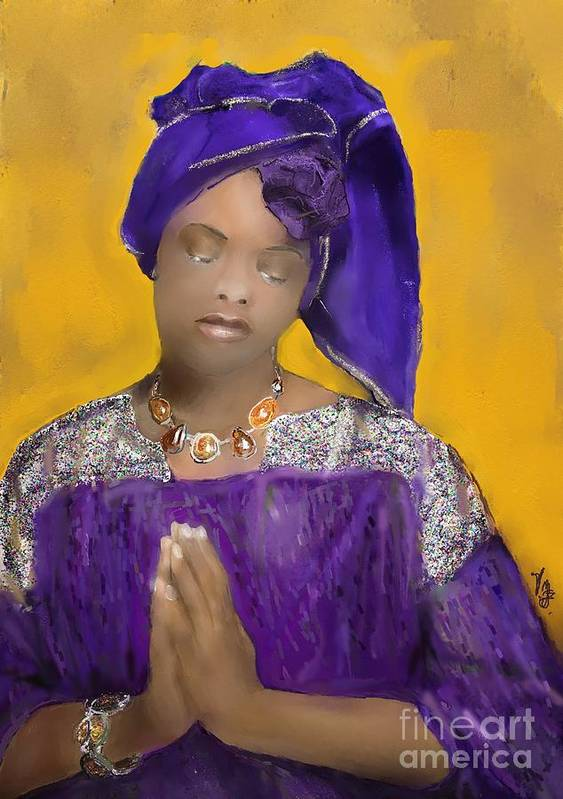 Mixed Medium Poster featuring the painting Woman Praying by Vannetta Ferguson