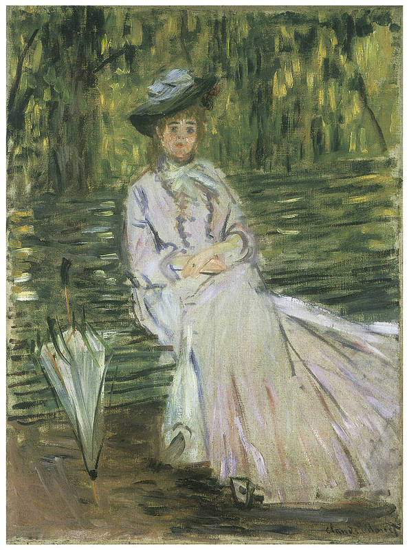 Woman Seated On A Bench Poster featuring the painting Woman Seated On A Bench by Claude Monet