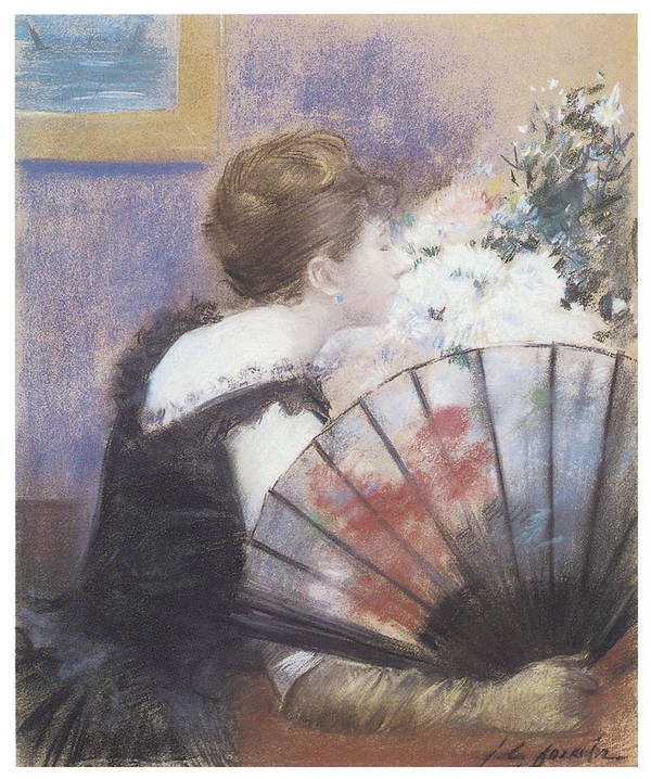 Jean-louis Forain Poster featuring the painting Woman Smelling Flowers by Jean-Louis Forain