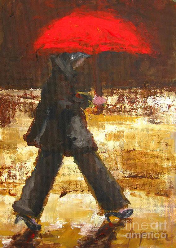 Woman Under A Red Umbrella Poster featuring the painting Woman Under A Red Umbrella by Patricia Awapara