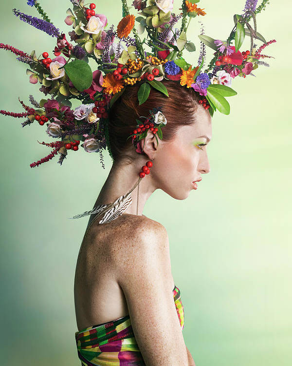 Art Poster featuring the photograph Woman Wearing A Colorful Floral Mohawk by Paper Boat Creative