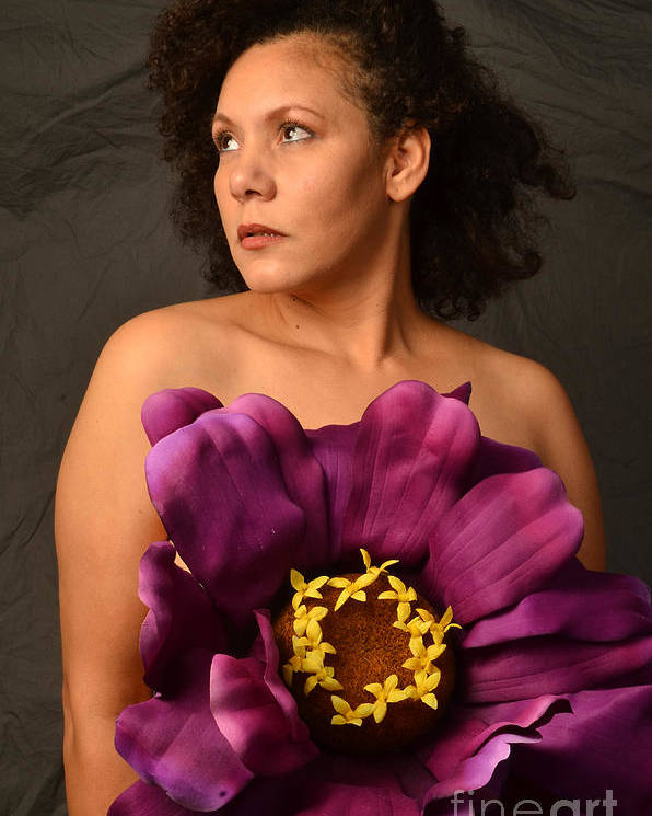 Color Poster featuring the photograph Woman With Purple Flower by Timothy OLeary