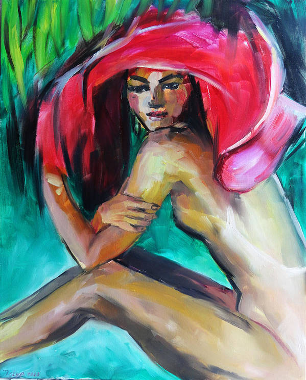 Art Poster featuring the painting Woman With Red Hat by Nelya Shenklyarska