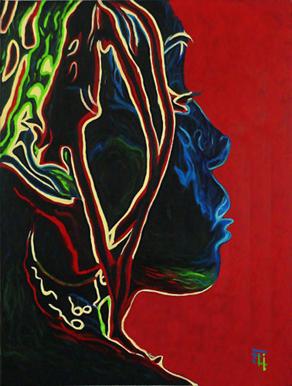 Original Oil On Canvas Poster featuring the painting Womans Essence by Fli Art