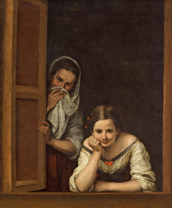 Murillo Poster featuring the painting Women From Galicia At The Window by Bartolome Esteban Murillo