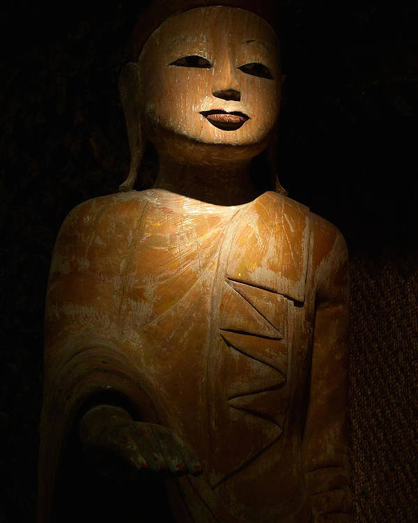 Statue Poster featuring the photograph Wood Buddha Statue by August Timmermans