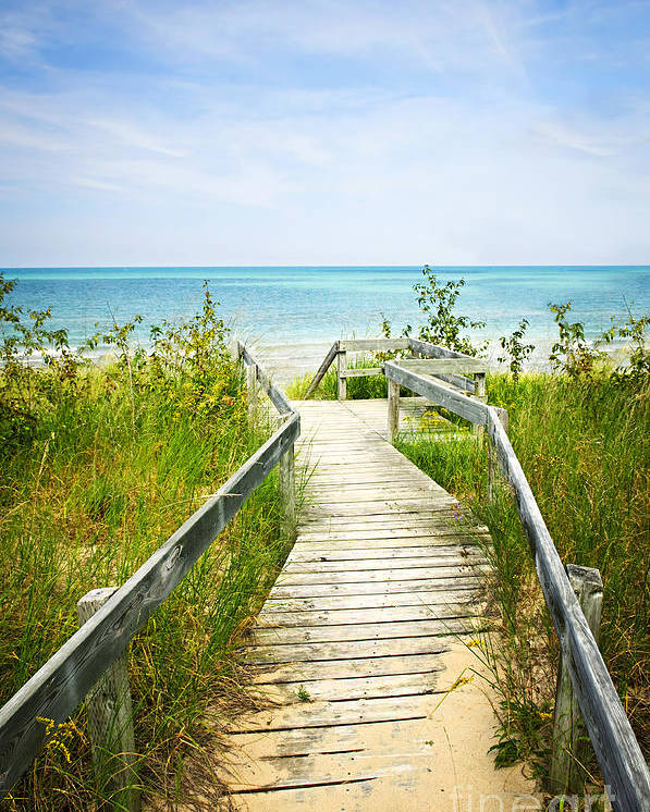 Beach Poster featuring the photograph Wooden Walkway Over Dunes At Beach by Elena Elisseeva