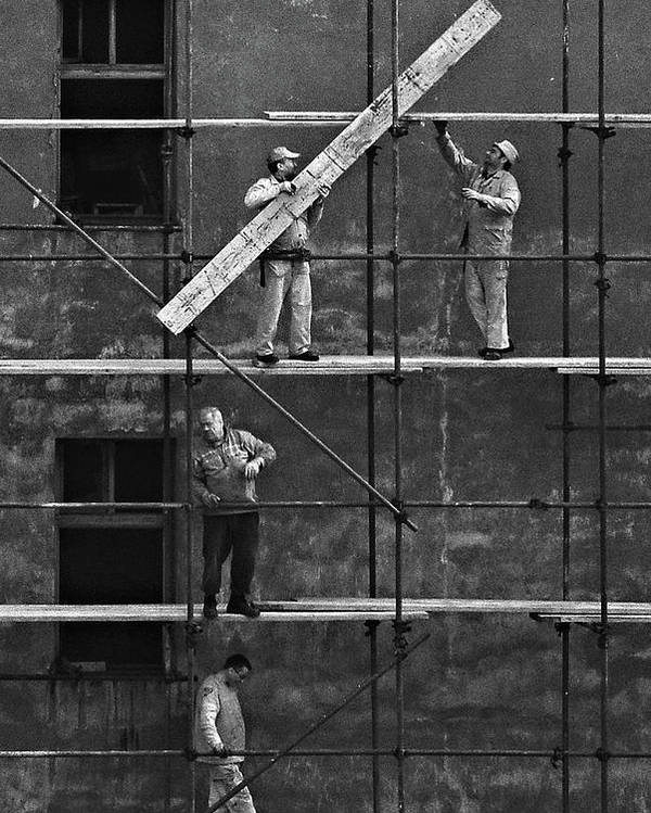 Construction Poster featuring the photograph Workers 2 by Violeta Milutinovic