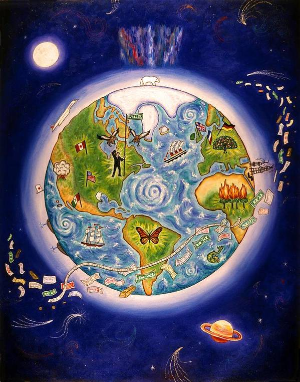 Folk Art Earth Poster featuring the painting World Economy by Linda Mears