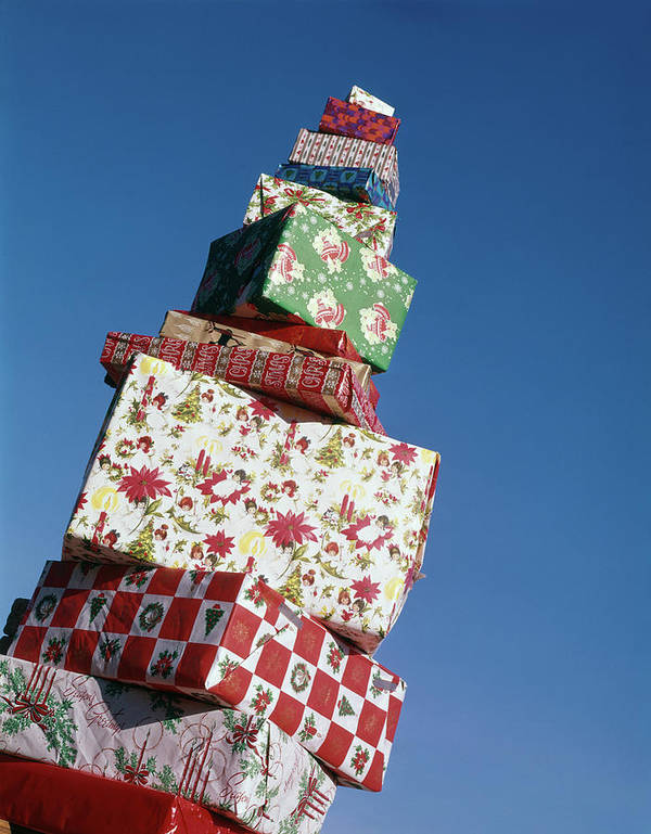 Photography Poster featuring the photograph Wrapped Christmas Present Stacked by Vintage Images