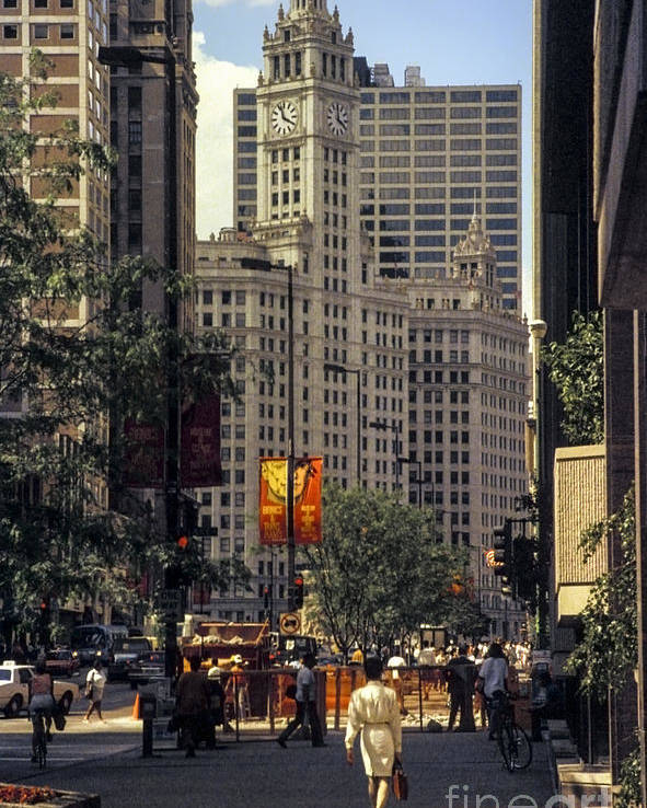 Chicago Poster featuring the photograph Wrigley Building Clock Tower by Bob Phillips