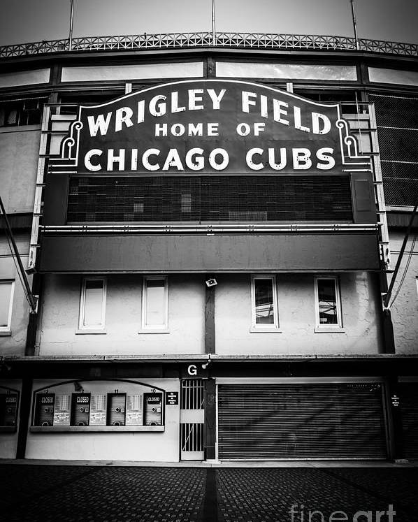America Poster featuring the photograph Wrigley Field Chicago Cubs Sign In Black And White by Paul Velgos