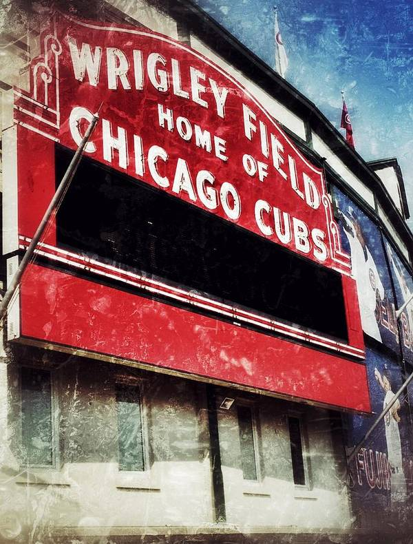 Cubs Poster featuring the photograph Wrigley Red by Jame Hayes