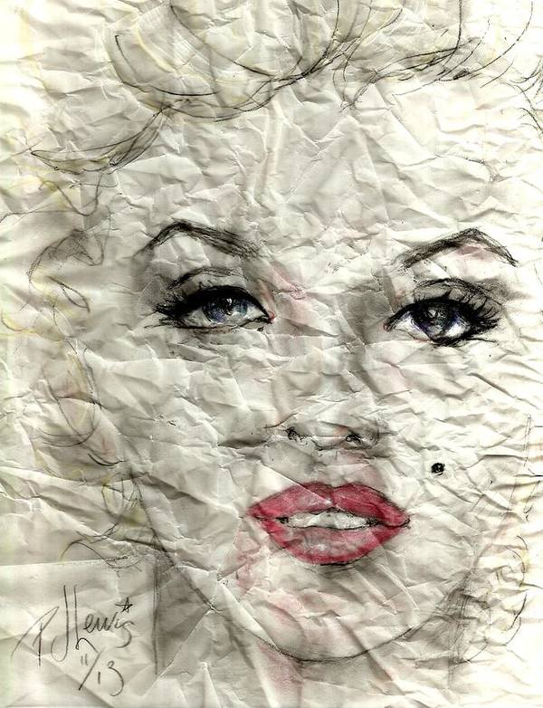 Marilyn Monroe Poster featuring the drawing wrinckled Marilyn by PJ Lewis