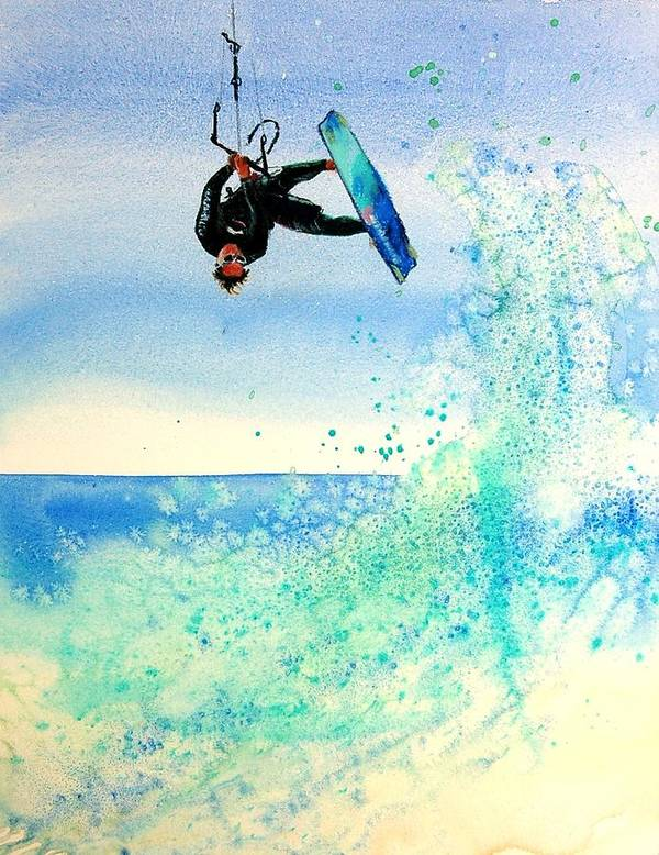 Kiteboarding Poster featuring the painting Xtreme Big Air by Lynee Sapere